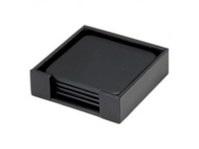 Leather Square Coaster Set with Holder