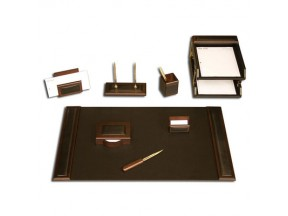 Walnut & Leather 10pc Desk Set